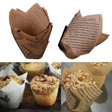 <b>50PCS Newspaper Style</b> Christmas Tulip Baking Cups Cake Paper ...