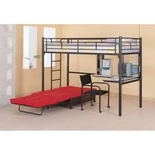 modern black polished iron teenage bunk bed with folding red extra bed and l shaped desk childrens bunk bed desk full