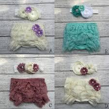 <b>Baby</b> Lace Ruffled Shorts Blommers Matching <b>Baby Headband</b> ...