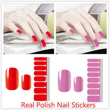 16 Tips <b>Pure</b> Color <b>Nail Art</b> Wraps Full Self Adhesive Polish Tips ...