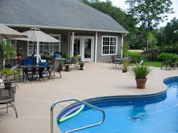 paving astonishing concrete pool patio paint with metal flower pot holders and black wrought iron patio black wrought iron patio furniture