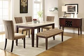 Granite Dining Room Tables Furniture Brown Wooden Dining Set With Benches Having Brown