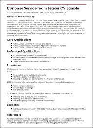 Customer Service Team Leader CV Sample