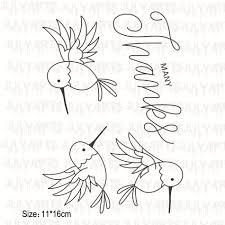 <b>YaMinSanNiO</b> 3Pcs 11*16cm Bird Alphabet Clear <b>Stamps</b> and Dies ...