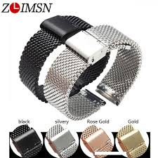 <b>ZLIMSN Milan Watchbands Replacement</b> 20 22 24mm Silver Gold ...