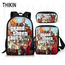 <b>THIKIN Grand Theft Auto</b> Printing Backpack For Teenage Boys Girls ...