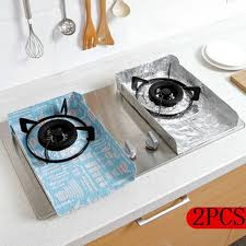 <b>2pcs</b> Cooking Stove Cover Gas Oven Aluminum <b>Foil</b> Anti-oil ...