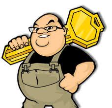a large man carrying a big key