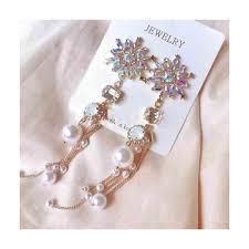 Korean New Colorful Crystal Flower Simulated Pearl <b>Tassel</b> Long ...