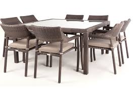 size sunco square glass square dining room table with glass top and rattan seats  with brown c