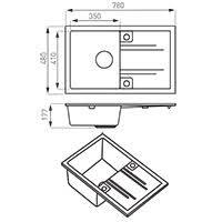 Mezzo II - <b>Кухонная мойка</b> однокамерная 78x48 см, <b>песок</b>