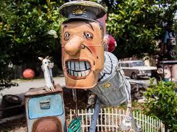 sebastopol s quirky junk sculptures a photo essay milkman patrick amiot junk metal sculpture at renga arts sebastopol