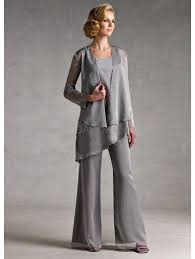 Classic Silver <b>Gray Chiffon Mother Of</b> The Bride Pant Suits | Mother ...