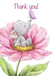 Thank You with Cute Elephant with Butterfly in <b>Pink Big Flower</b> card ...