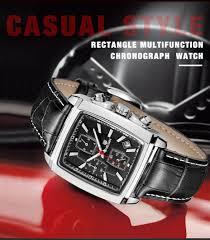 Megir top <b>luxury brand Genuine leather</b> rectangle stopwatch Quartz ...