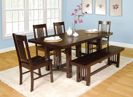 brown polished wooden dining set benches