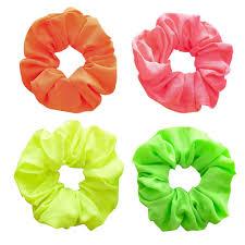 Fluorescent Velvet <b>Scrunchie Women</b> Girls <b>Elastic Hair Rubber</b> ...