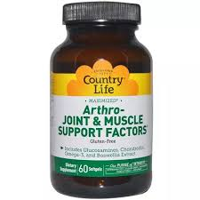 Country Life, <b>Arthro</b> - <b>Joint & Muscle</b> Support Factors, 60 Softgels