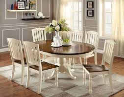kitchen pedestal dining table set: add warmth and brightness to your kitchen or dining area with the bethannie cottage style dining set featuring an eye catching two tone design