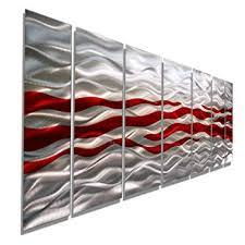 Extra <b>Large</b> Red & Silver <b>Handpainted</b> Contemporary Metal <b>Wall</b> Art ...