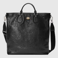 black <b>leather Soft leather tote</b> | GUCCI® US