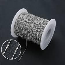 <b>5m</b> 1.5mm 2mm Stainless <b>Steel</b> Ball Bead <b>Chains Necklace</b> ...