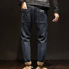 <b>Mens</b> Elastic Jeans <b>Pants Winter</b> Fashion Harlan Alphabet Stretch ...