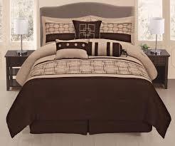 piece brown beige geometric comforter set queen size bedding