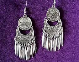 Ethnic <b>Gypsy</b> Earrings - <b>gothic goth</b> boho metalic <b>feathers</b> bohemian ...