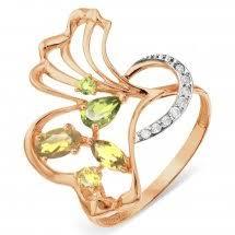 <b>Кольцо</b> из красного золота 585 пробы с <b>хризолитом</b>, цитрином и ...