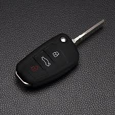 <b>3 buttons leather</b> flip Key Case Fob cover bag Fit for Audi A1 A3 A4 ...