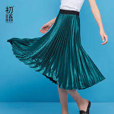 Toyouth Autumn High Waist Skirts Womens Solid <b>Pleated Skirt</b> ...