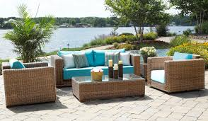 furniture design ideas outdoor beach marvelous rattan material cozy sofa chair glass table chandelier relax time charming outdoor furniture design