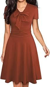YATHON Women's <b>Elegant Bow Tie</b> Swing Casual Party Dresses ...