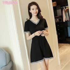 <b>YILIAN</b>  Summer <b>New</b> Short Sleeve Casual V-neck Waist Dress ...