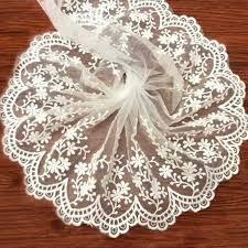 1yard African Nigeria <b>lace</b> fabric white rustic style <b>embroidery</b> curtain ...