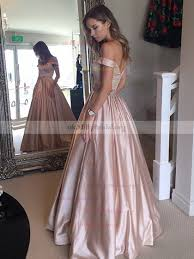 <b>Ball</b> Gown <b>Off-the-shoulder</b> Satin Floor-length Beading Prom Dresses