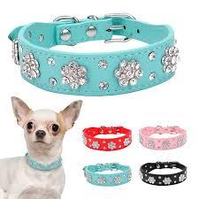 Collar <b>Dog</b> Rhinestone Studded Bling Leather <b>Pet</b> Collars <b>Cute</b> ...