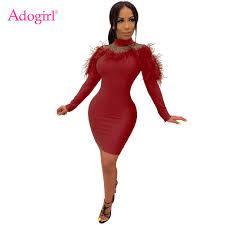 <b>Adogirl Sheer Mesh</b> Patchwork Feather Bandage Dress Mock Neck ...