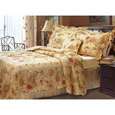 5 Piece Yellow Pink Red Green King Quilt Set, Floral ... - Amazon.com