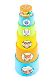 <b>Мягкая пирамидка стаканчики</b> с наклейками Колобок <b>KNOPA</b> 87006