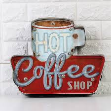 Hot Coffee Shop Vintage LED Neon Light <b>Metal Signs Bar Pub</b> ...