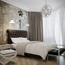 image of creative lighting fixtures for bedrooms in brushed stainless steel finish with cone lamp shade above bed lighting