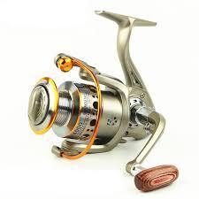 2019 Fishing Reel 12 Bearing <b>Metal Head Spinning Reels</b> Wood ...