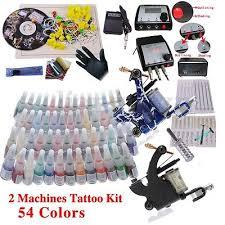 <b>Complete</b> tattoo kit 2 rotary <b>tattoo machine</b> gun needle 54 ink tattoo ...
