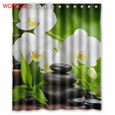 <b>WONZOM</b> Orchid Bamboo and <b>Stone Shower</b> Curtains For ...