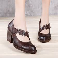 <b>VALLU 2019 Women</b> High Heel Shoes Handmade Vintage Genuine ...