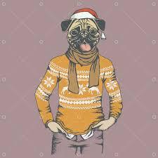 Christmas <b>Pug dog</b> vector illustration. <b>Pug dog</b> in human sweater or ...