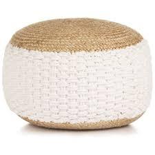 <b>Woven</b>/<b>Knitted Pouffe Jute</b> Cotton 50x35 cm White -
