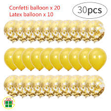 <b>30pcs</b>/<b>set</b> Sequin Balloon Confetti Sequins Balloons <b>Gold</b> latex ...